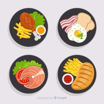 손으로 그린 음식 요리 세트