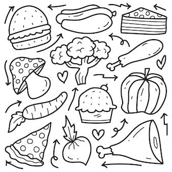 손으로 그린 음식 낙서 만화 색칠 디자인