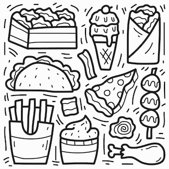 손으로 그린 음식 낙서 만화 디자인