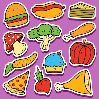 손으로 그린 음식 낙서 만화 스티커 디자인