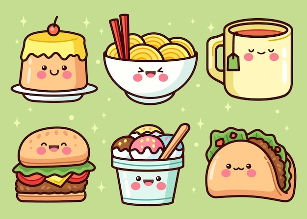 Hand drawn food elements collection