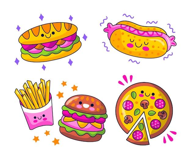 손으로 그린 음식 요소 컬렉션