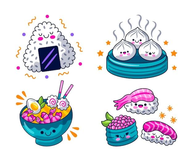 Raccolta di elementi di cibo disegnato a mano