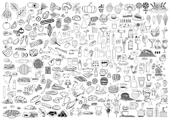 Hand drawn food elements