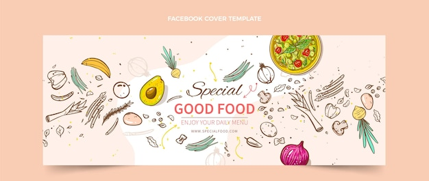 Hand drawn food facebook cover