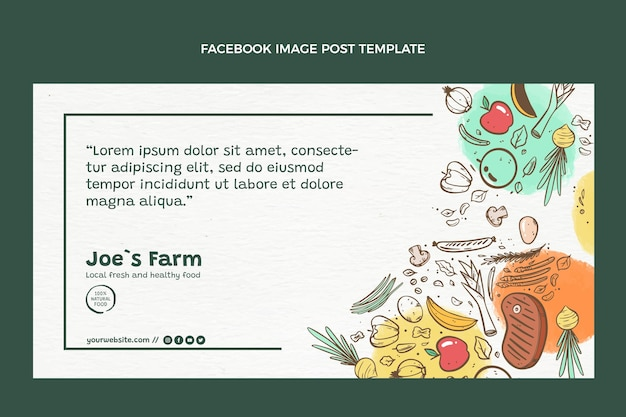 손으로 그린 음식 페이스 북 게시물