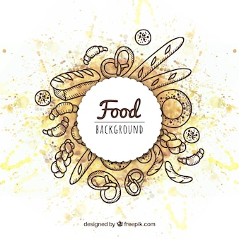 Hand drawn food frame background