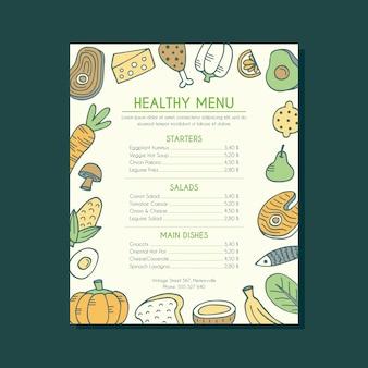 Modello di menu sano telaio cibo disegnato a mano