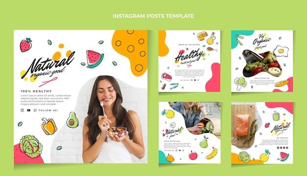 Hand drawn food instagram post pack