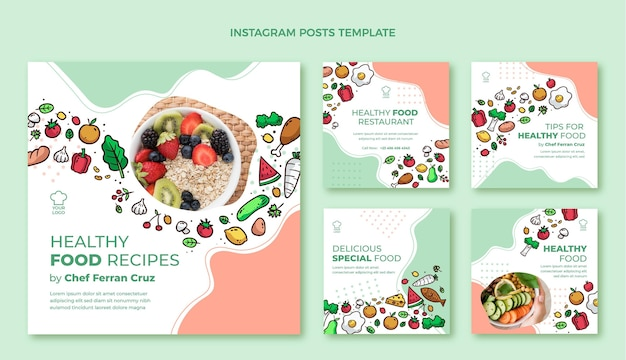 Hand drawn food instagram post template