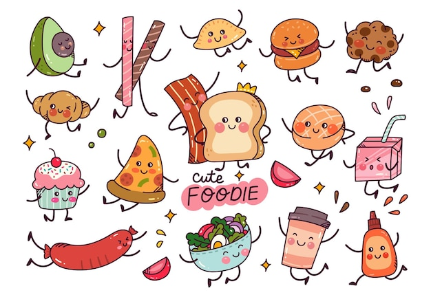 Hand drawn food in kawaii style vector element