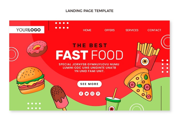 Hand drawn food landing page template