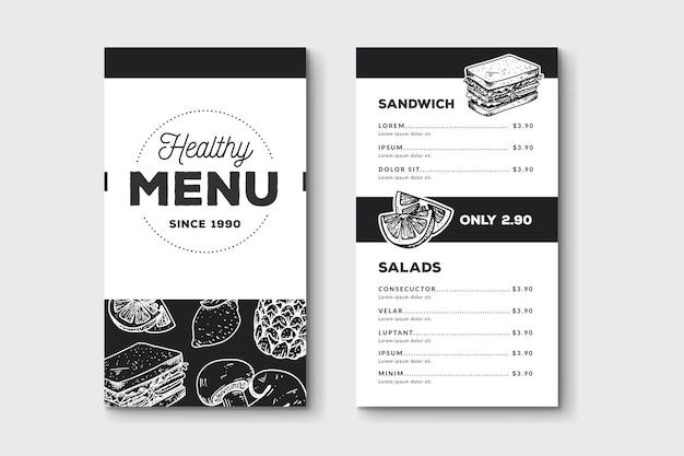 Modello di menu di cibo disegnato a mano