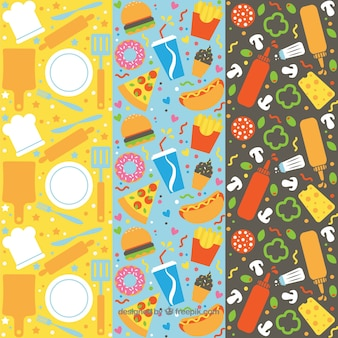 Hand drawn food pattern collection