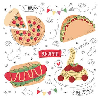 Hand drawn food stickers collection
