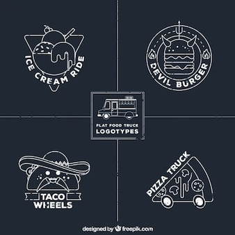 Hand drawn food truck logos in chalkboard style