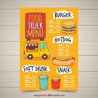 Hand drawn food truck menu with fast food