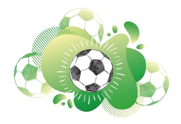 Ручной обращается футбол футбольный мяч эскиз жидкий абстрактный фон