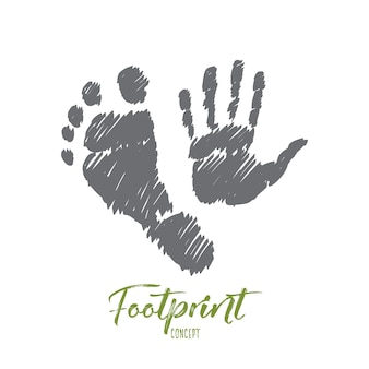 Hand drawn footprint concept sketch with prints of human foot and hand
