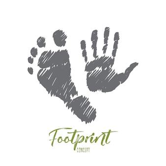 人間の足と手のプリントで手描きの足跡の概念スケッチ