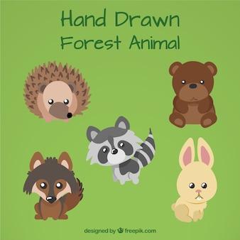 귀여운 눈으로 손으로 그린 숲 동물