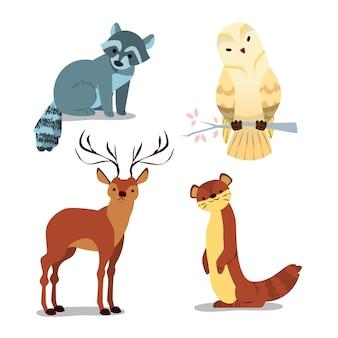 손으로 그린 숲 동물 모음