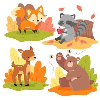 Collezione di animali della foresta disegnata a mano