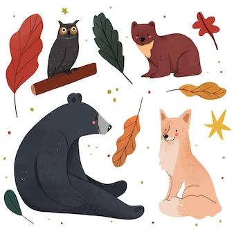 手描きの森の動物コレクション