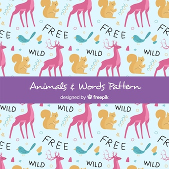 Hand drawn forest animals and words pattern