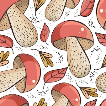 Hand drawn forest mushrooms seamless pattern. autumn background