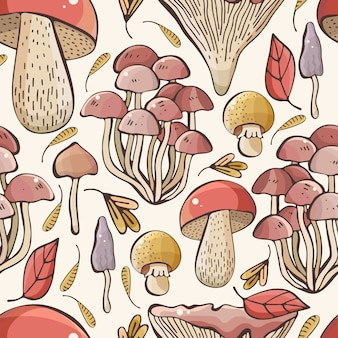 Hand drawn forest mushrooms seamless pattern.