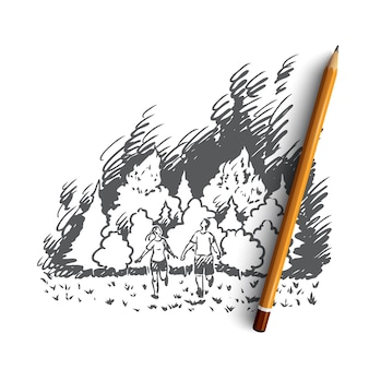 Hand drawn forest wildfire