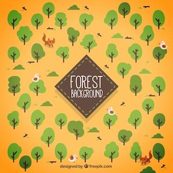 Рисованной лес с фоном животных