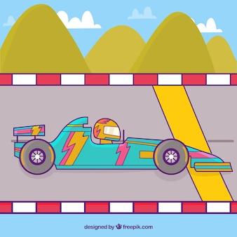 손으로 그린 포뮬러 1 경주 용 자동차