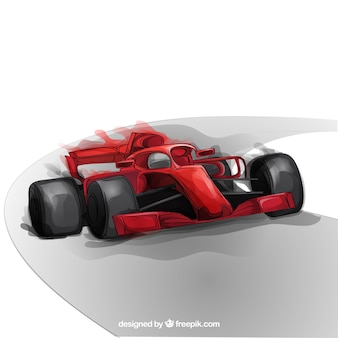 Hand drawn formula 1 racing car
