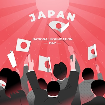 Hand drawn foundation day japan with flags