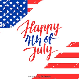Hand drawn fourth of july lettering