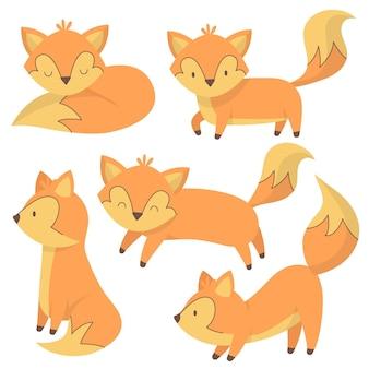 Collezione di volpe disegnata a mano Vettore gratuito