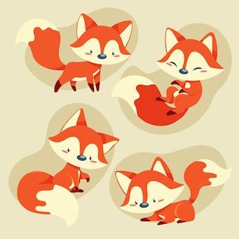 Collezione di volpe disegnata a mano