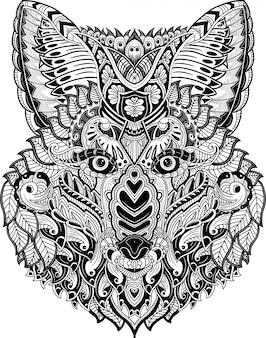 Hand drawn of fox head in zentangle doodles