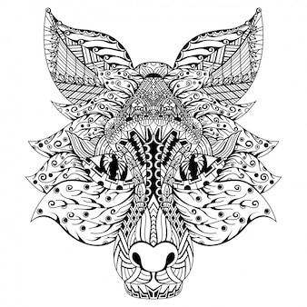 Hand drawn of fox head in zentangle style