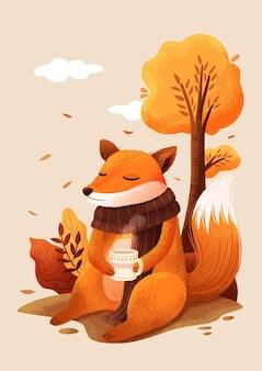 秋のお茶と手描きのキツネのイラスト
