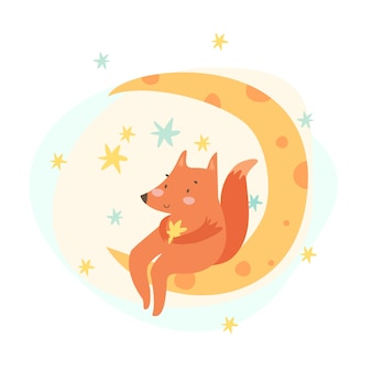 Hand drawn fox is sitting on the moon