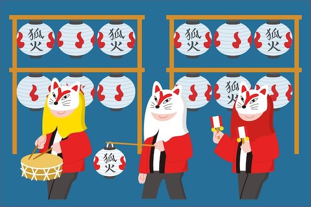 Нарисованная рукой иллюстрация парада лисиц