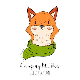 手描きのキツネの肖像画、スカーフとセーター、冬の表情
