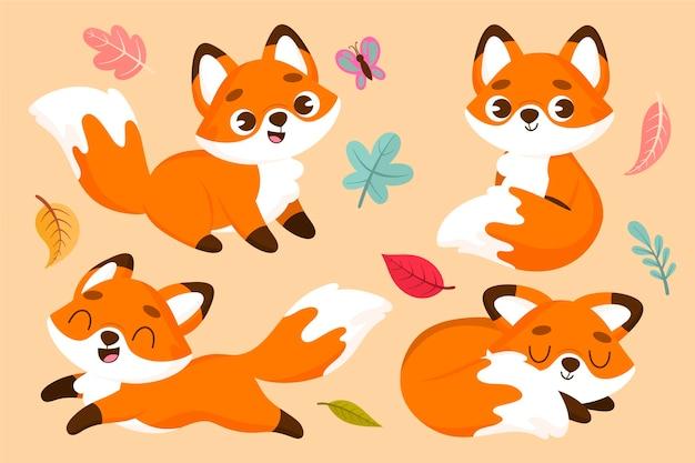 Hand drawn fox set