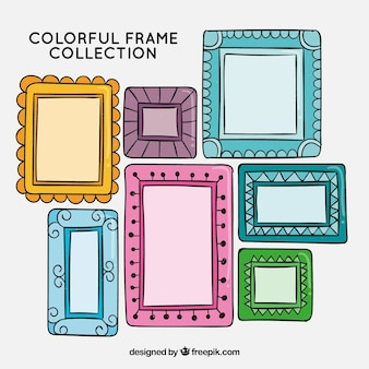 Hand drawn frame collection with colorful style