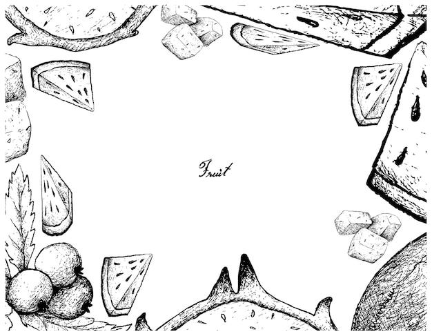 Ручная рамка из свежих фруктов на белом фоне