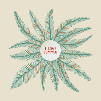 Рука нарисованные кадр из пальмовых листьев на белом фоне. тропическая иллюстрация.