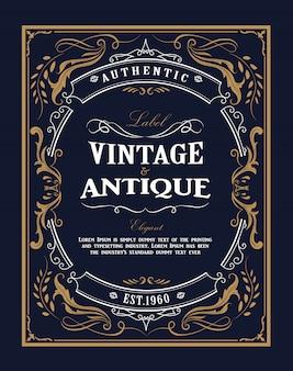 Hand drawn frame western vintage label antique flourishes design illustration